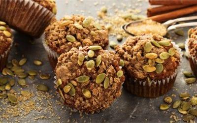Roast pumpkin and walnut muffins